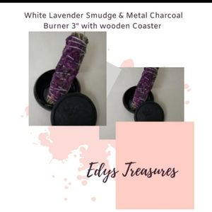 White sage and lavender smudge stick with burner